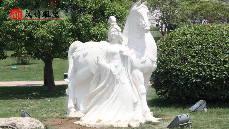 汉白玉雕像_古代人物石雕像_大型石雕定制_曹操人物雕像_刘备石雕像