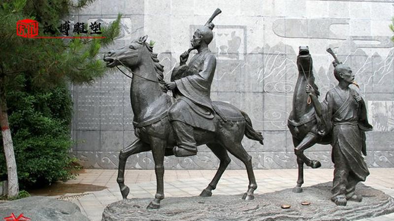 廉政主题雕塑_人物铜雕定制_古代人物雕塑_人物铸铜雕像