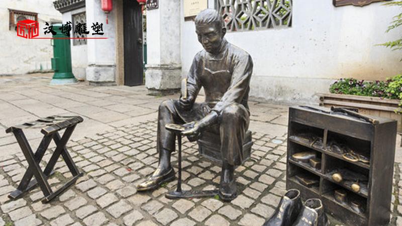 古街雕塑定制_大型雕塑_黄包车雕像_人物铸铜雕像_民俗文化雕塑