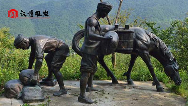 茶马古道雕塑_人物雕塑定制_大型雕塑_马雕塑_景观雕像