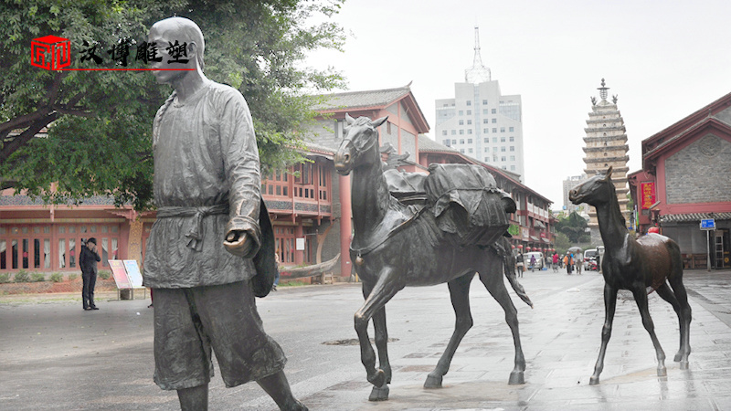 茶马古道雕塑_人物雕塑_大型雕像定制_马帮商人雕像_人物铸铜雕塑