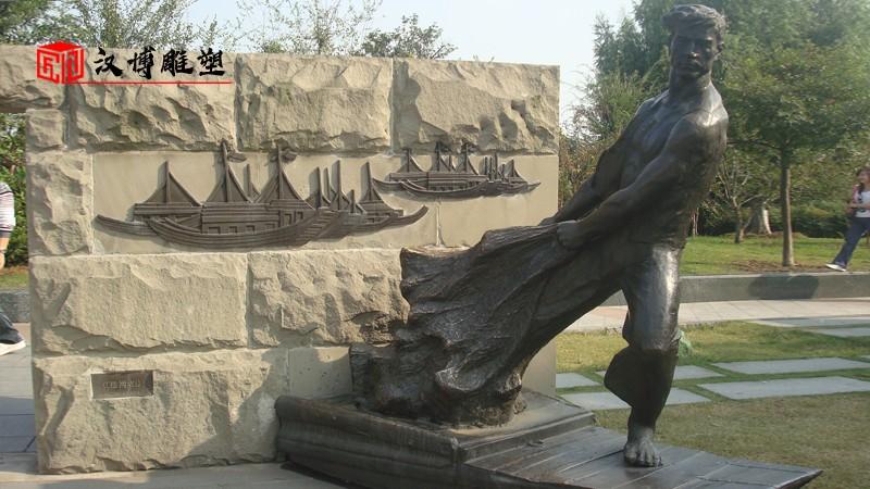 铸铜渔民雕塑_渔民主题雕塑_人物铜雕_渔夫雕像定制_大型景观雕塑