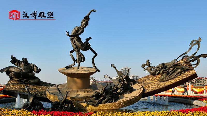 广场景观雕塑_采莲女雕像_户外大型雕塑_铸铜雕像定制_人物雕塑